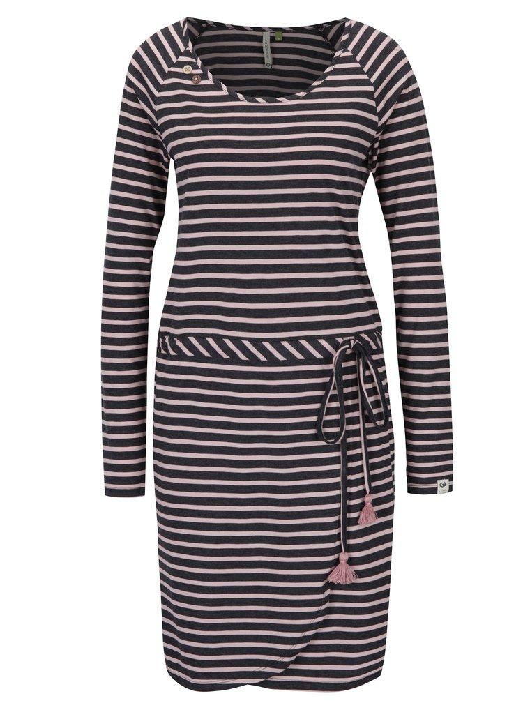 Růžovo-černé pruhované šaty Ragwear Glitter Organic