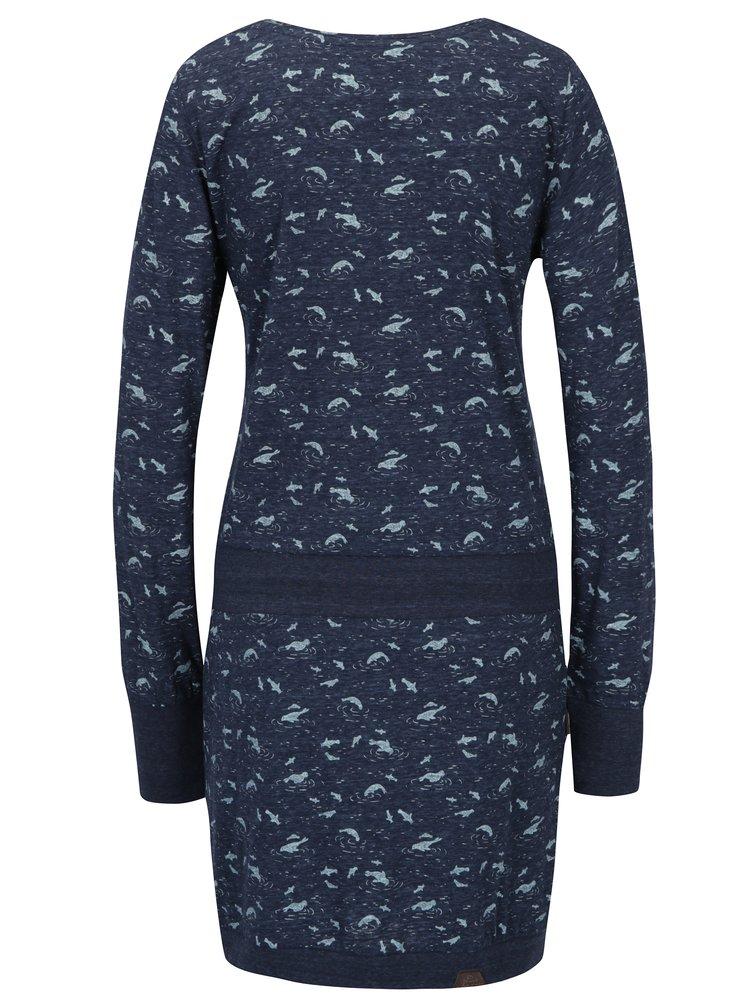 Tmavě modré vzorované šaty s dlouhým rukávem Ragwear Penelope