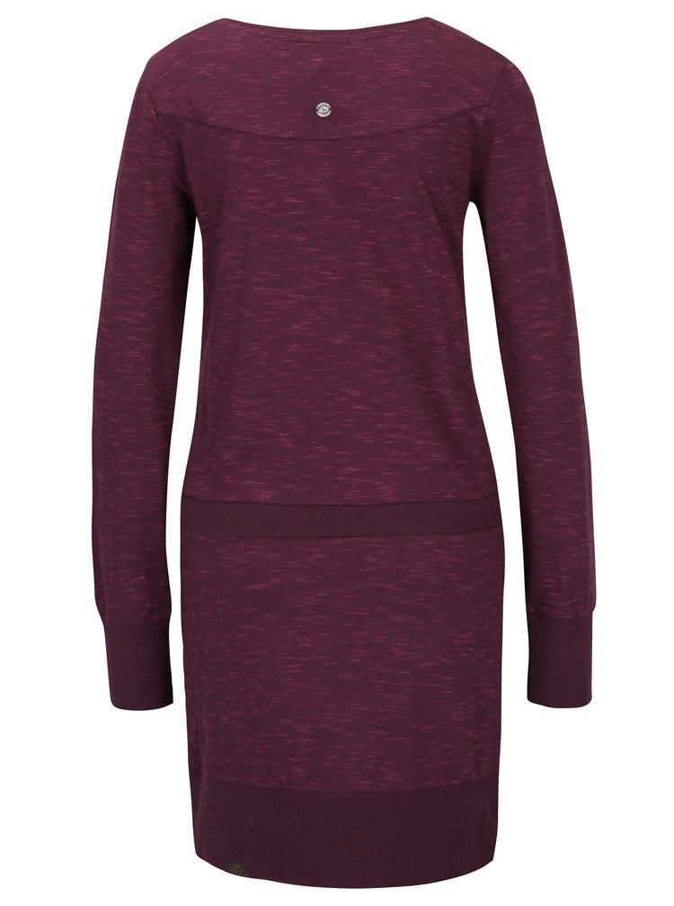 Vínové žíhané šaty s dlouhým rukávem Ragwear Alexa A