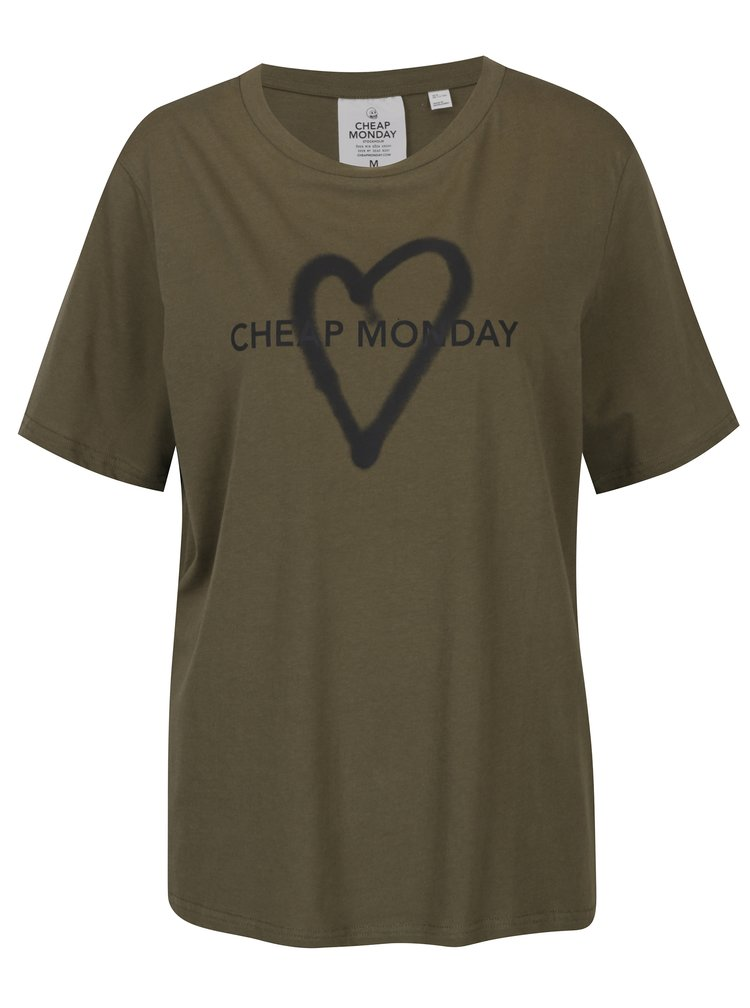 Tricou kaki cu print Cheap Monday Love