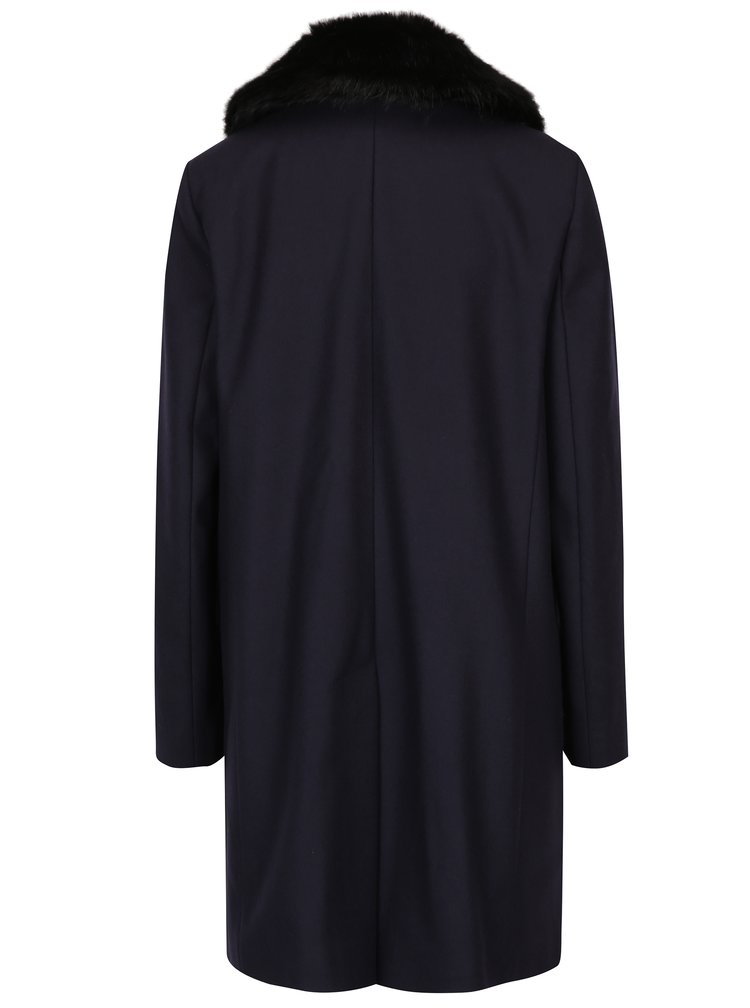 Palton negru din lână și cașmir cu guler de blană  French Connection Platform
