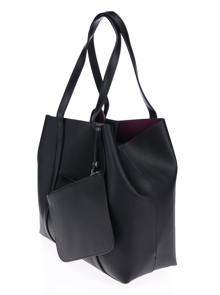 Geanta shopper neagra cu portofel - French Connection Saffiano Julia