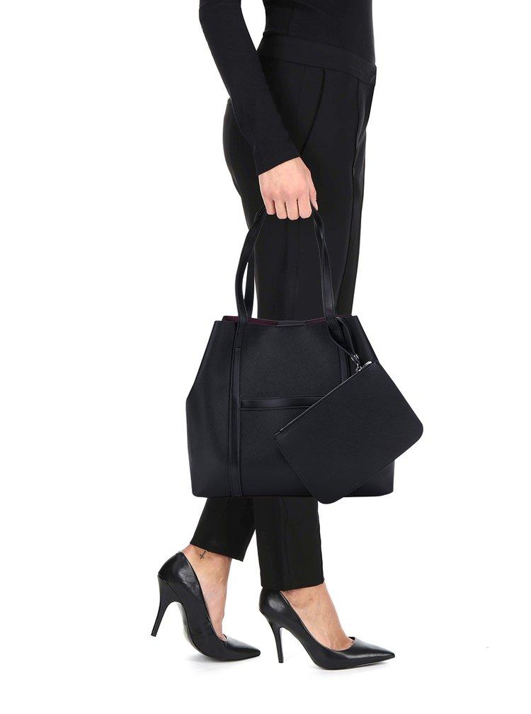Geanta shopper neagra cu portofel - French Connection Saffiano Julia