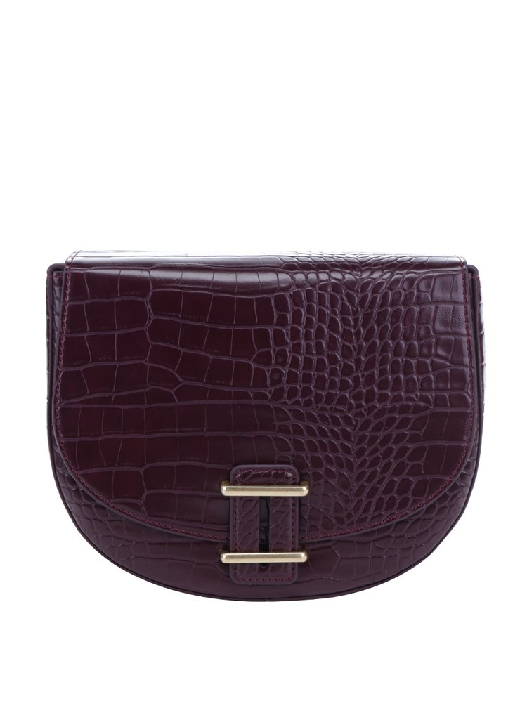 Geanta crossbody rosu bordo cu model reptila  French Connection Magda