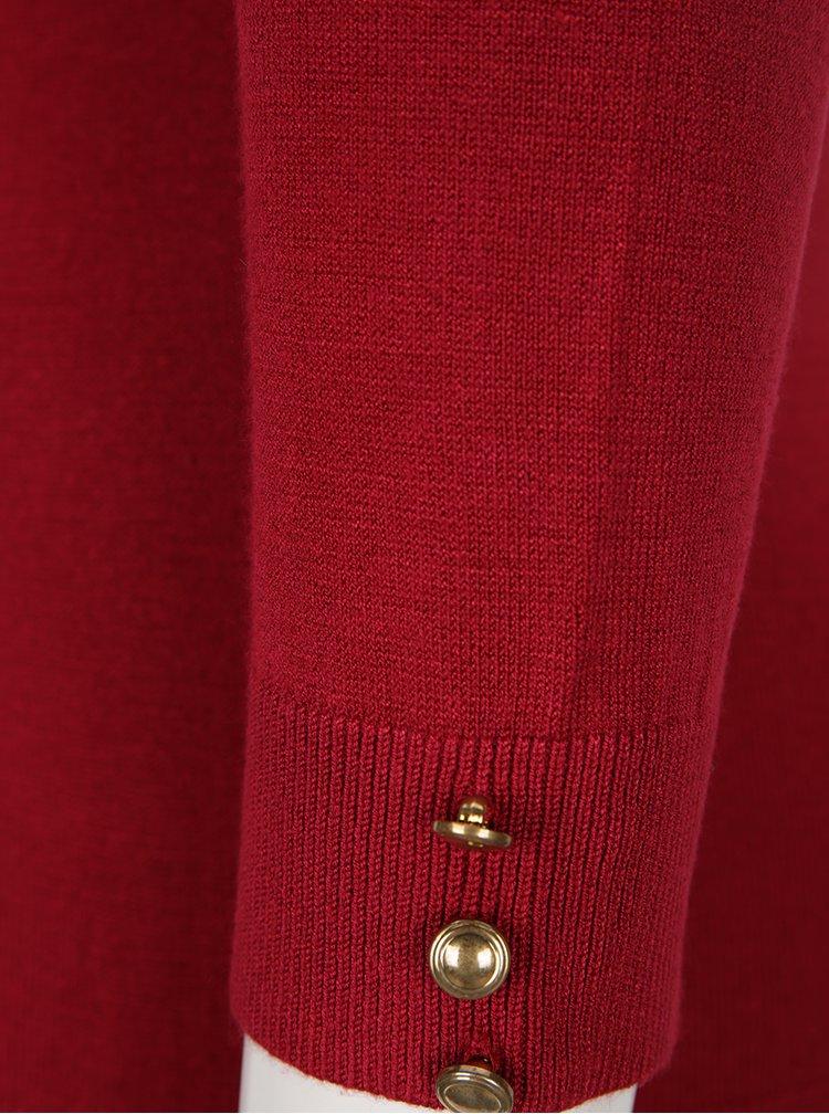 Pulover rosu cu nasturi pe maneci Dorothy Perkins