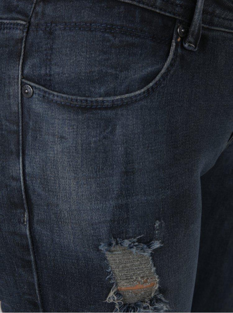 Tmavě modré slim džíny s nízkým pasem a potrhaným efektem Haily´s Alyssa