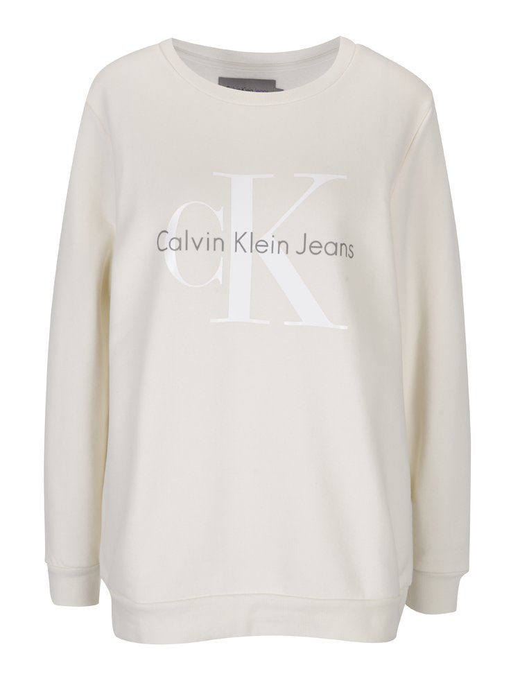 Krémová dámská mikina s potiskem Calvin Klein Jeans Crew