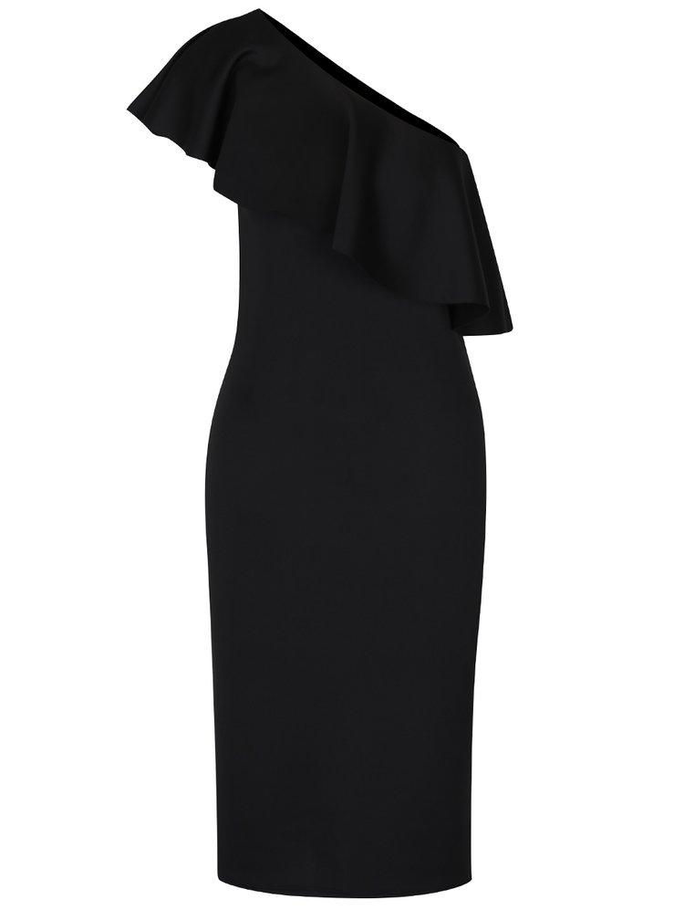 Rochie neagră midi cu volan asimetric Dorothy Perkins Tall