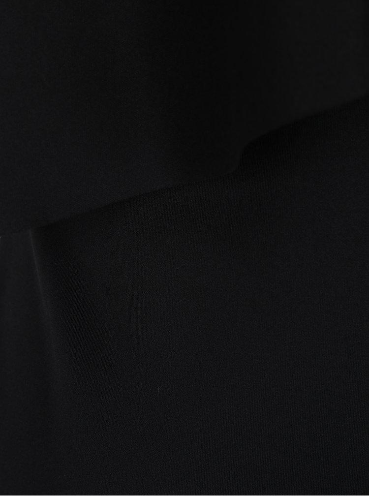 Rochie neagra midi cu volan asimetric Dorothy Perkins Tall