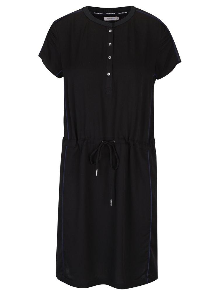 Černé šaty se stahováním v pase Calvin Klein Jeans Danit