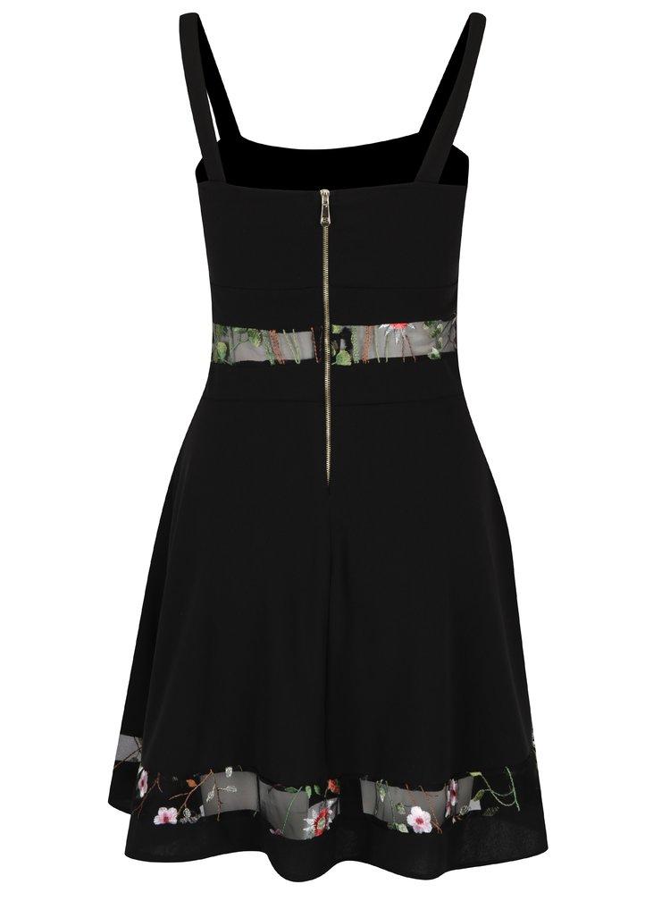 Černé šaty s průsvitnými detaily a výšivkami květů a motýlů Haily´s Belari