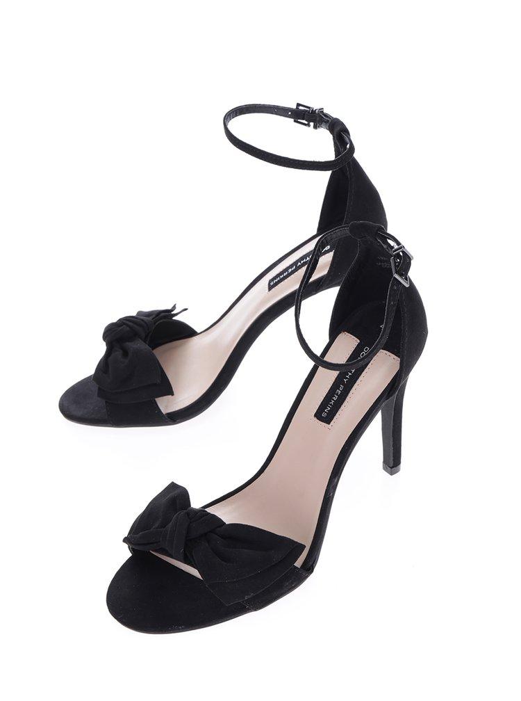Černé sandálky s mašlí v semišové úpravě Dorothy Perkins