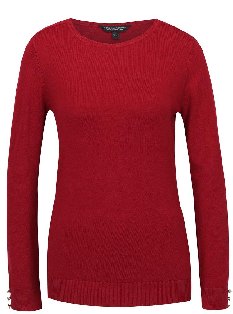 Pulover roșu cu nasturi pe mâneci Dorothy Perkins
