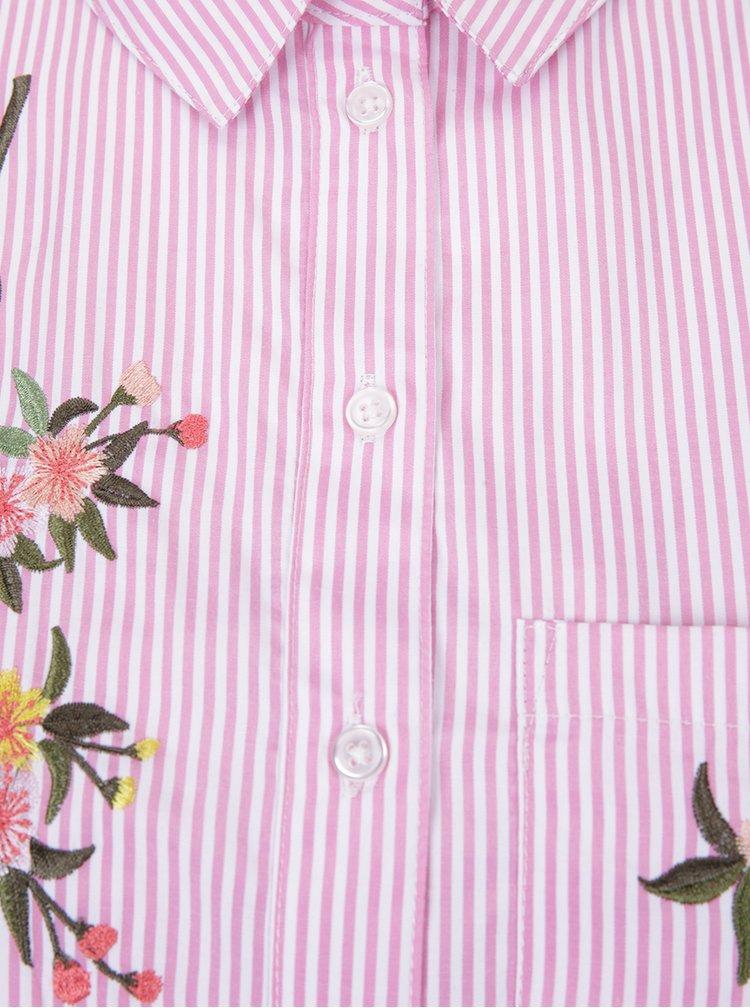 Camasa cu dungi roz si albe si broderie florala Dorothy Perkins