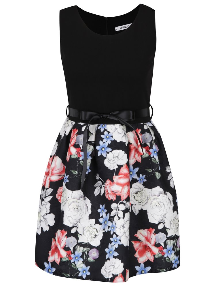 Černé šaty s květovanou sukní a zavazováním v pase Haily´s Sovia