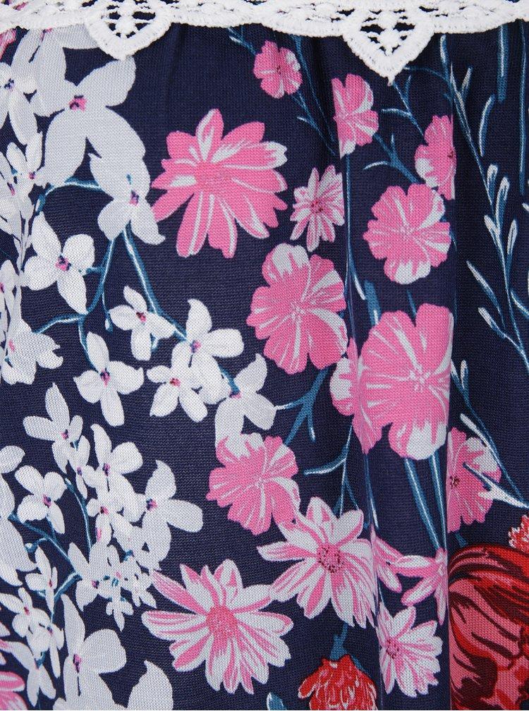 Bluză mov cu flori și decolteu pe umeri Dorothy Perkins