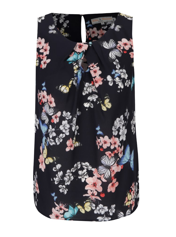 Top petrecut negru cu print floral Billie & Blossom Petite