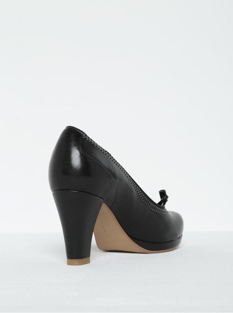 Pantofi negri din piele cu toc gros - Clarks Chorus Bombay