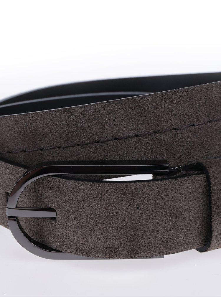 Tmavě šedý dámský semišový pásek Calvin Klein Jeans Suede