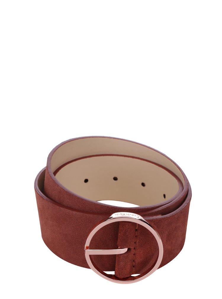 Cihlový dámský semišový pásek Calvin Klein Waist