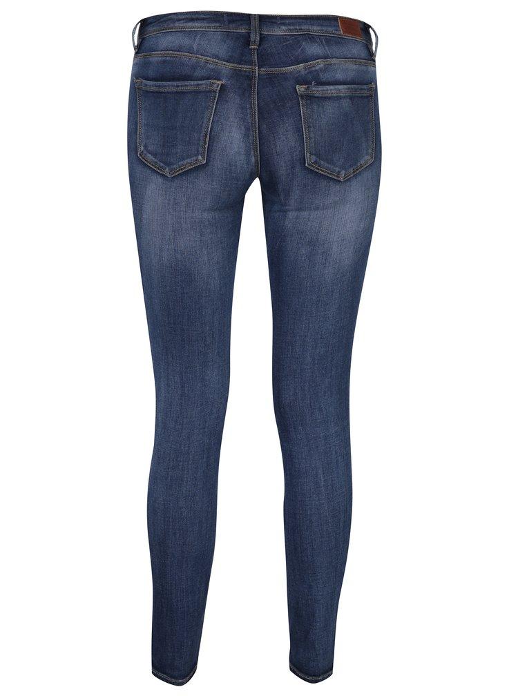 Modré skinny džíny s nízkým pasem a vyšisovaným efektem TALLY WEiJL