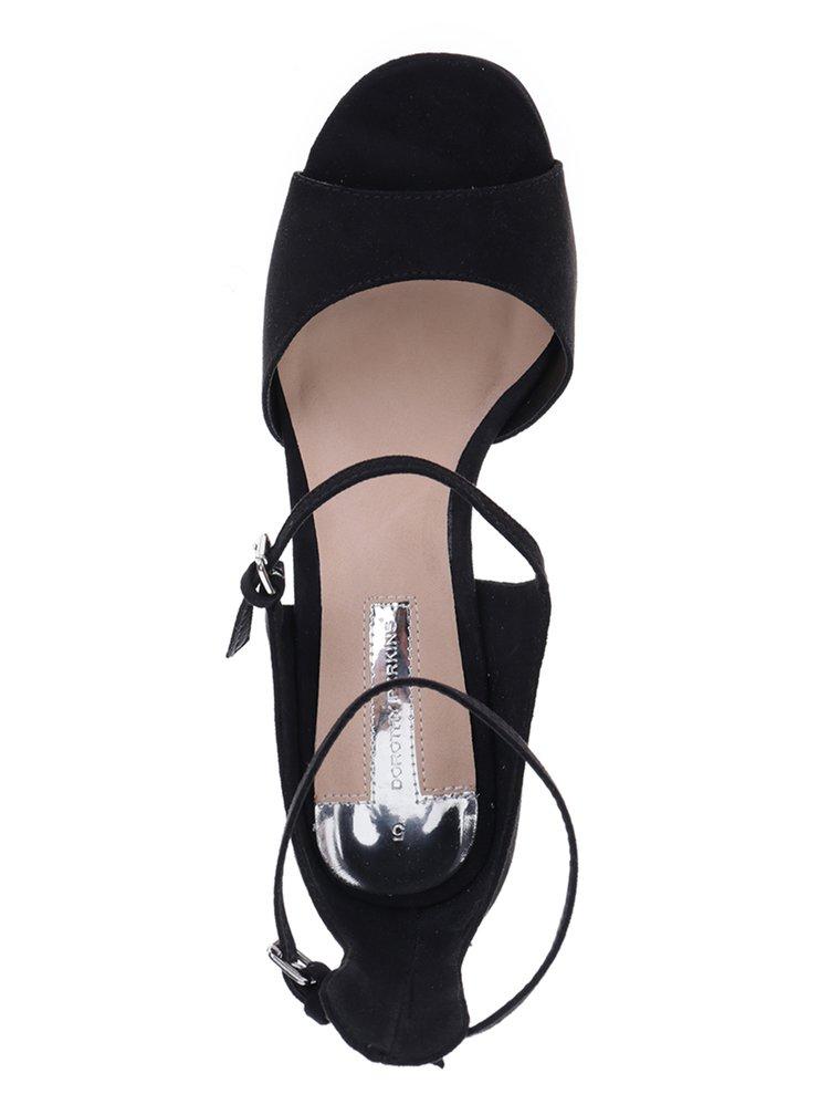 Černé sandálky v semišové úpravě na jehlovém podpatku Dorothy Perkins