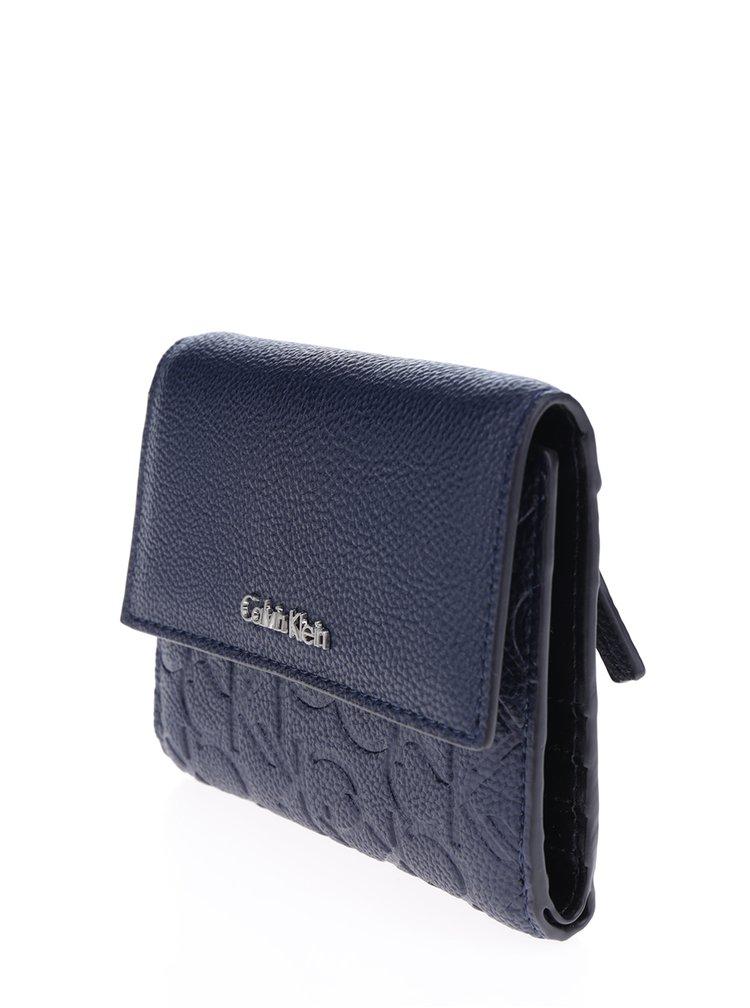Tmavě modrá dámská peněženka s reliéfním vzorem Calvin Klein Jeans Misha
