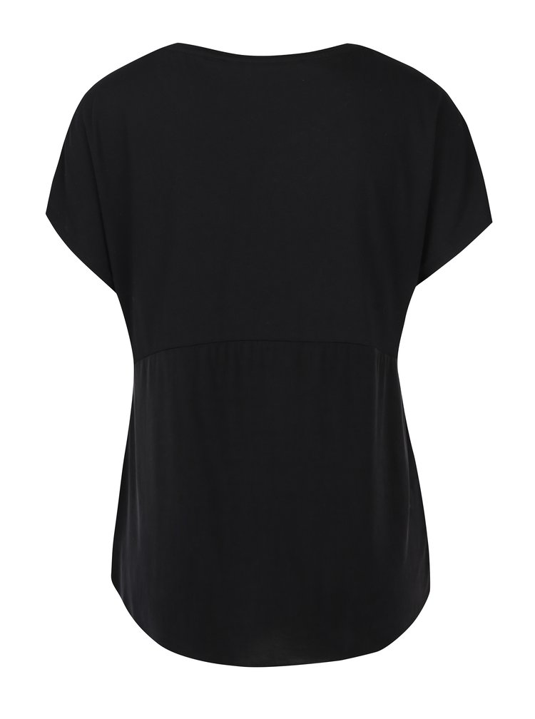 Černé dámské volné tričko s krátkým rukávem Garcia Jeans