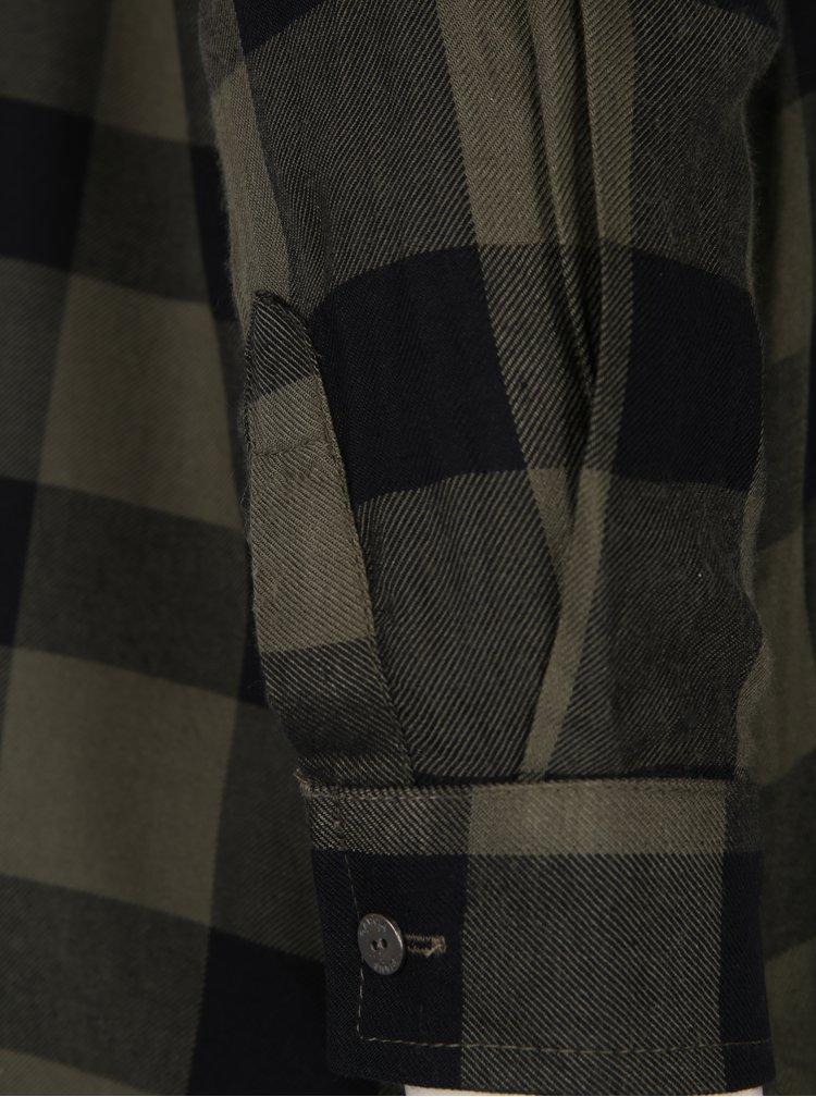 Cămașă kaki cu negru în carouri Garcia Jeans
