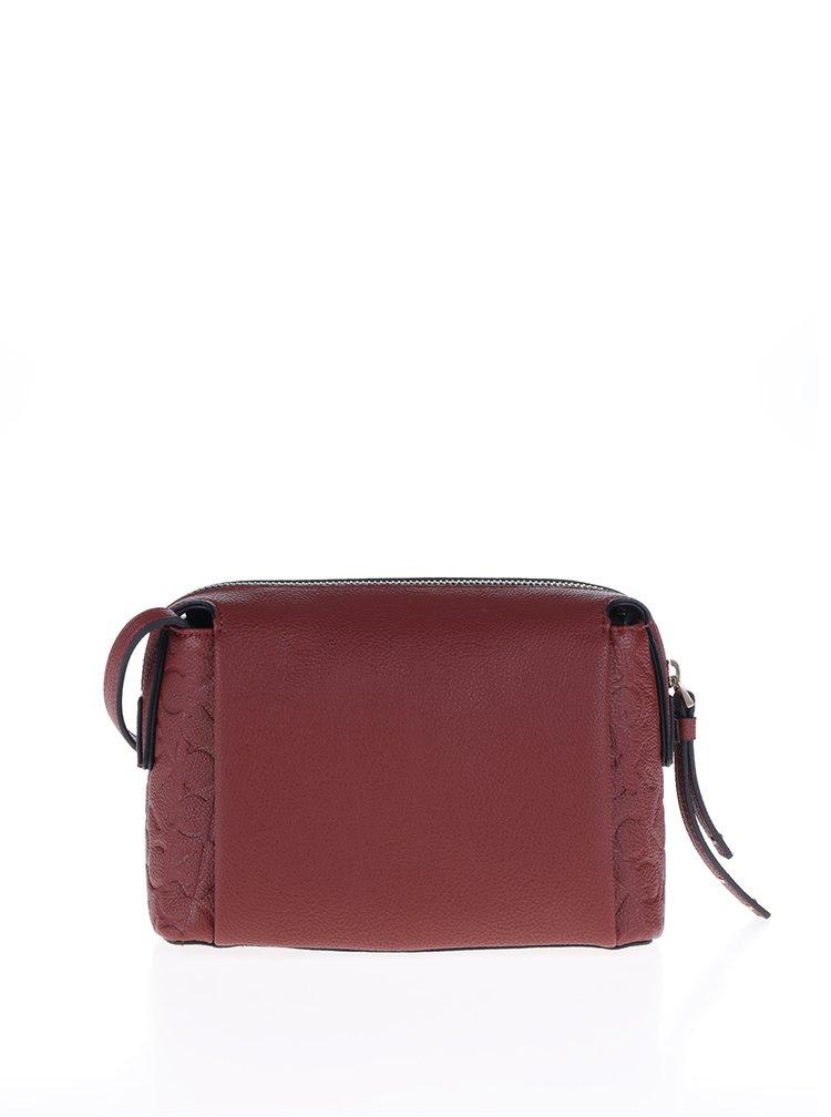 Červená crossbody kabelka s reliéfním vzorem Calvin Klein Jeans Misha