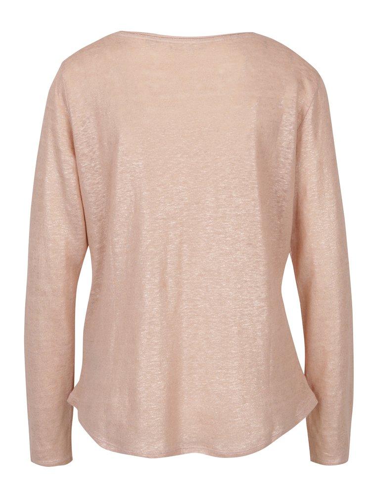 Růžové dámské lněné tričko s metalickými odlesky Garcia Jeans
