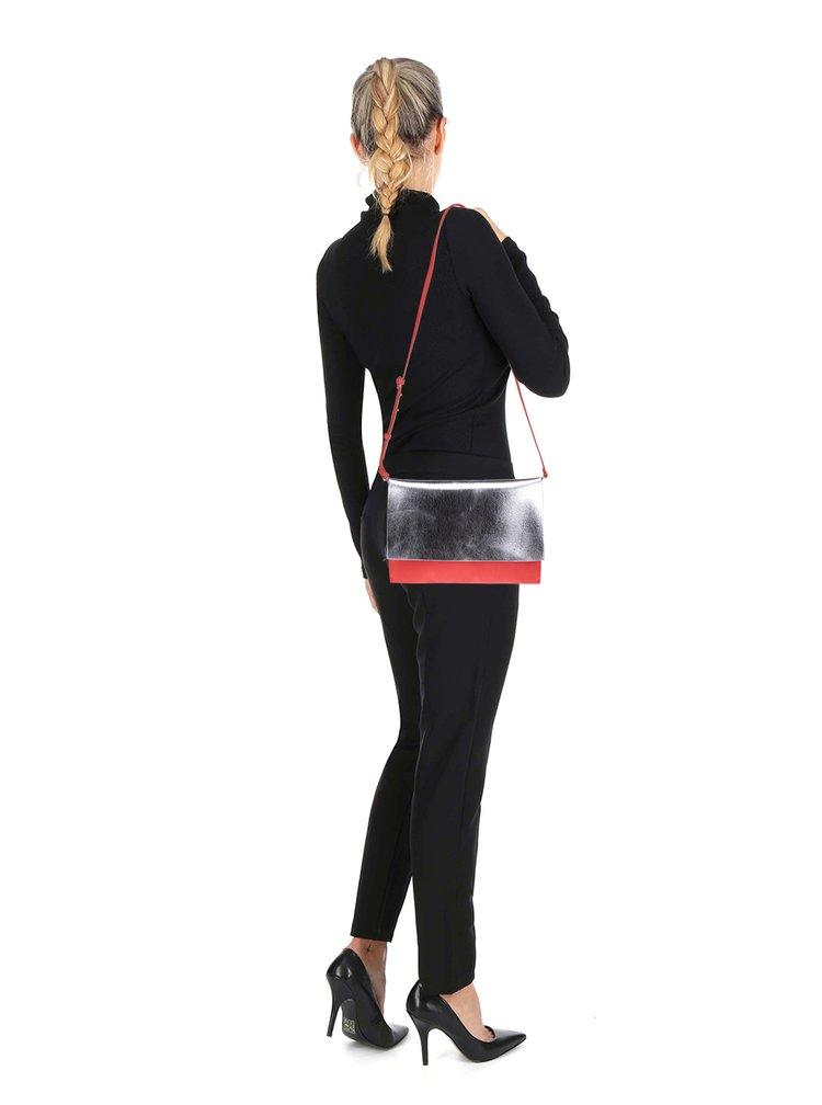 Červená crossbody kabelka s klopou ve stříbrné barvě Clarks Moroccan Jewel