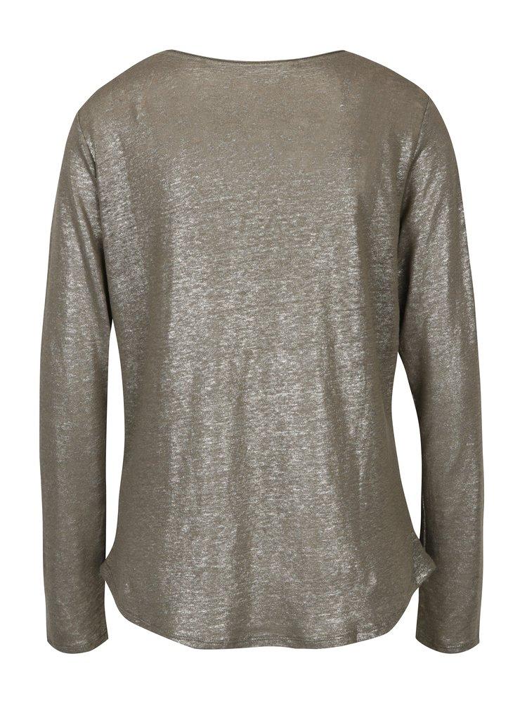 Khaki dámské lněné tričko s metalickými odlesky Garcia Jeans