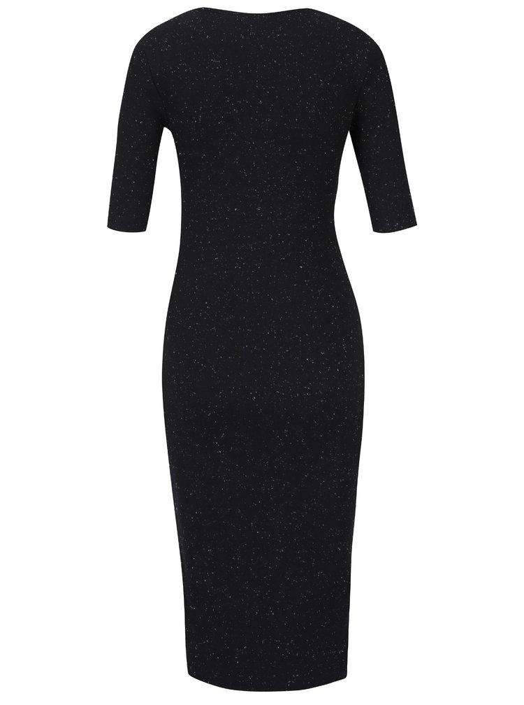 Černé přiléhavé šaty s krátkým rukávem a jemným vzorem  Garcia Jeans