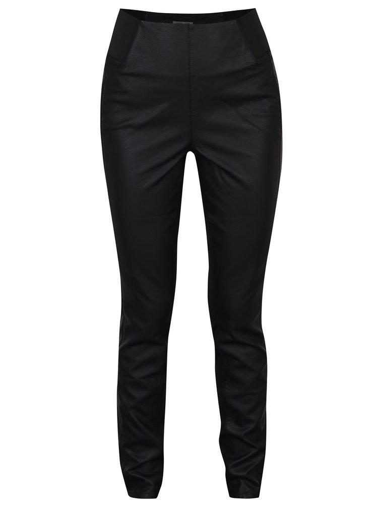 Černé dámské přiléhavé koženkové kalhoty s vysokým pasem Garcia Jeans