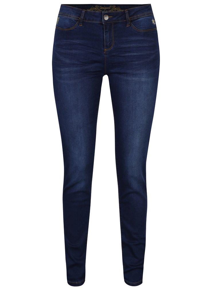 Tmavě modré skinny džíny s vyšisovaným efektem a výšivkami Desigual Second