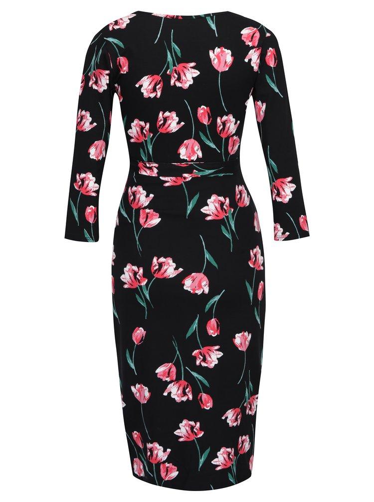 Čierne kvetované tehotenské šaty s 3/4 rukávom Dorothy Perkins Maternity