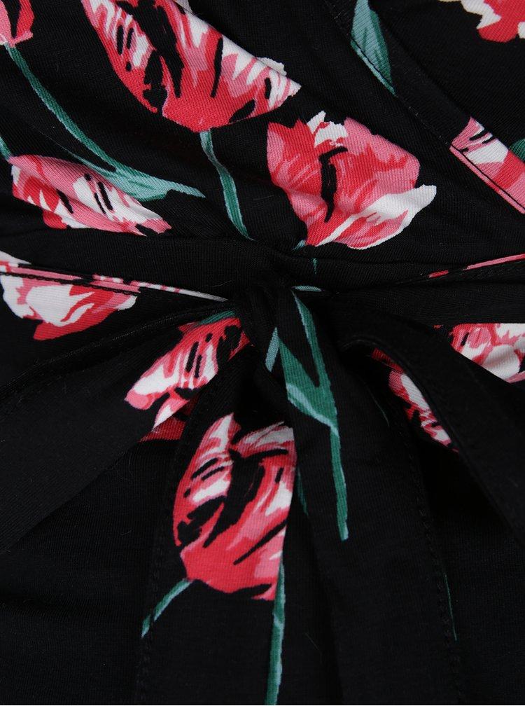 Černé květované těhotenské šaty s 3/4 rukávem Dorothy Perkins Maternity