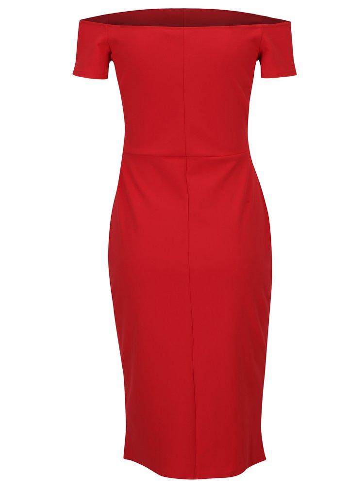Červené pouzdrové šaty s odhalenými rameny Dorothy Perkins