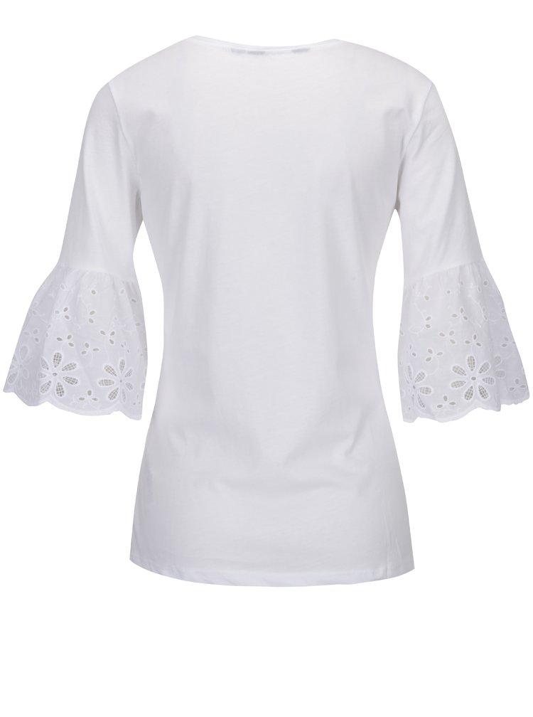 Bluză albă cu volane și broderie spartă Dorothy Perkins