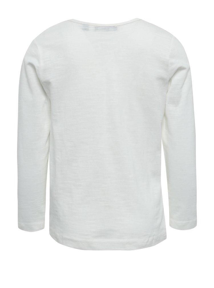 Krémové žíhané holčičí tričko s potiskem Blue Seven