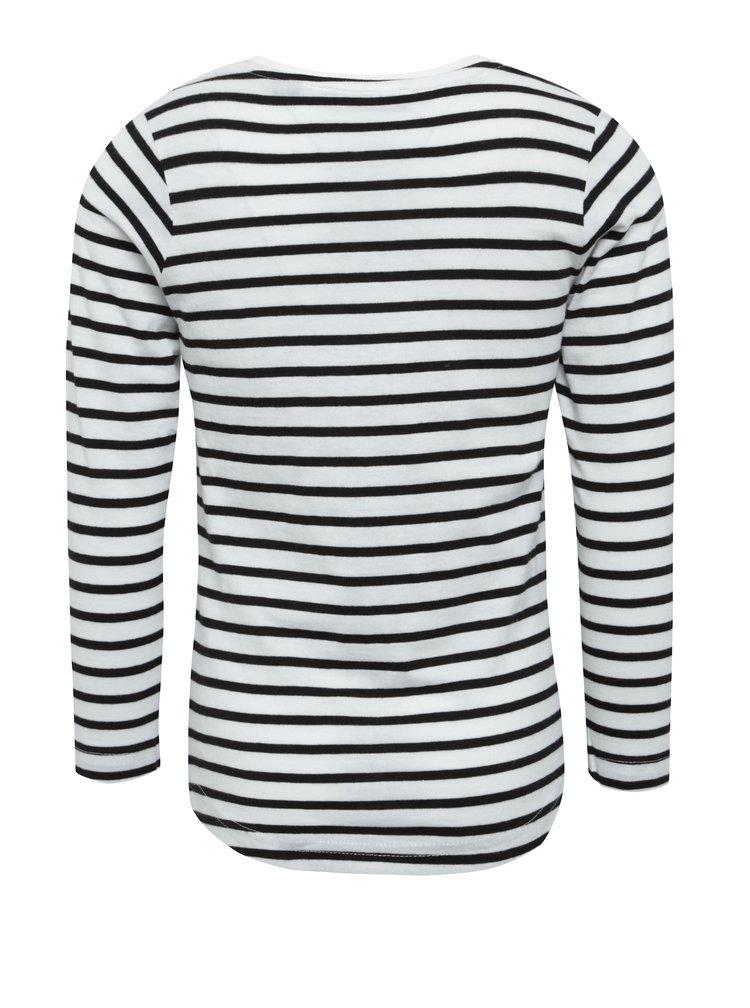 Černo-bílé pruhované holčičí tričko s potiskem Blue Seven