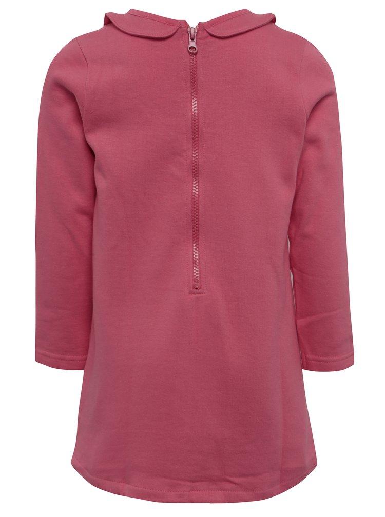 Růžové holčičí šaty s límečkem Blue Seven
