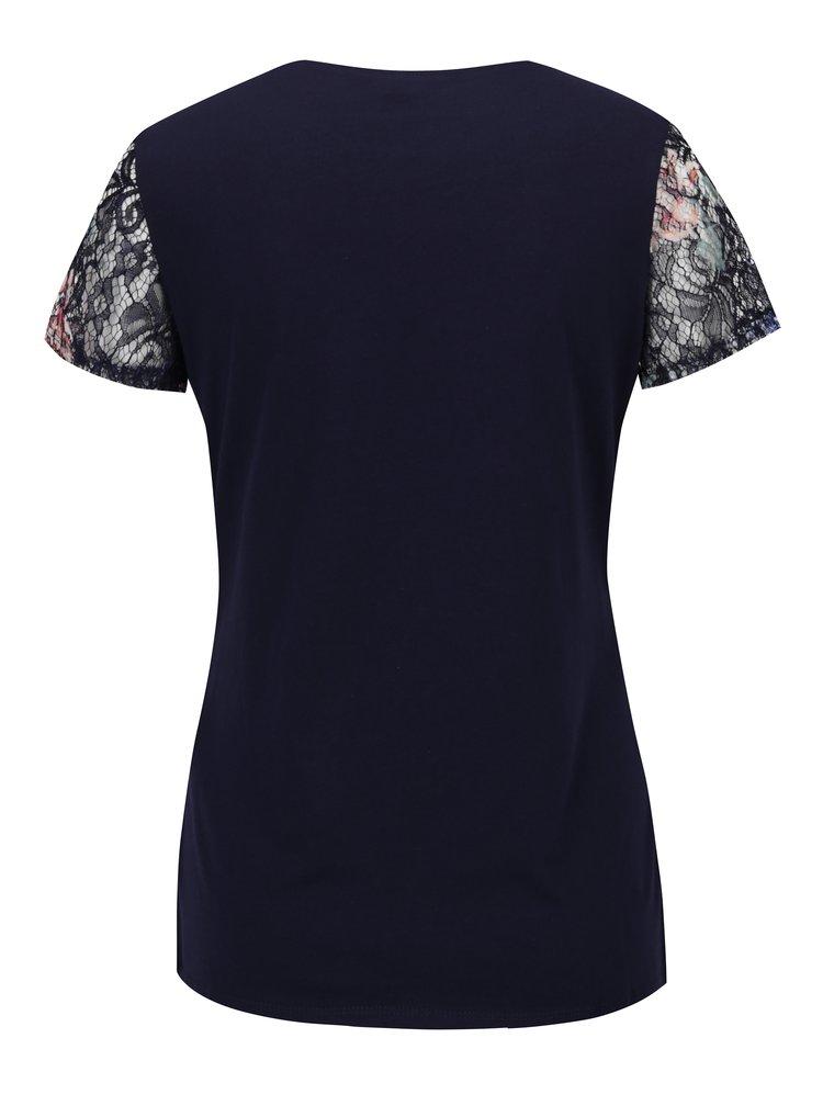 Tmavě modré krajkové tričko Dorothy Perkins