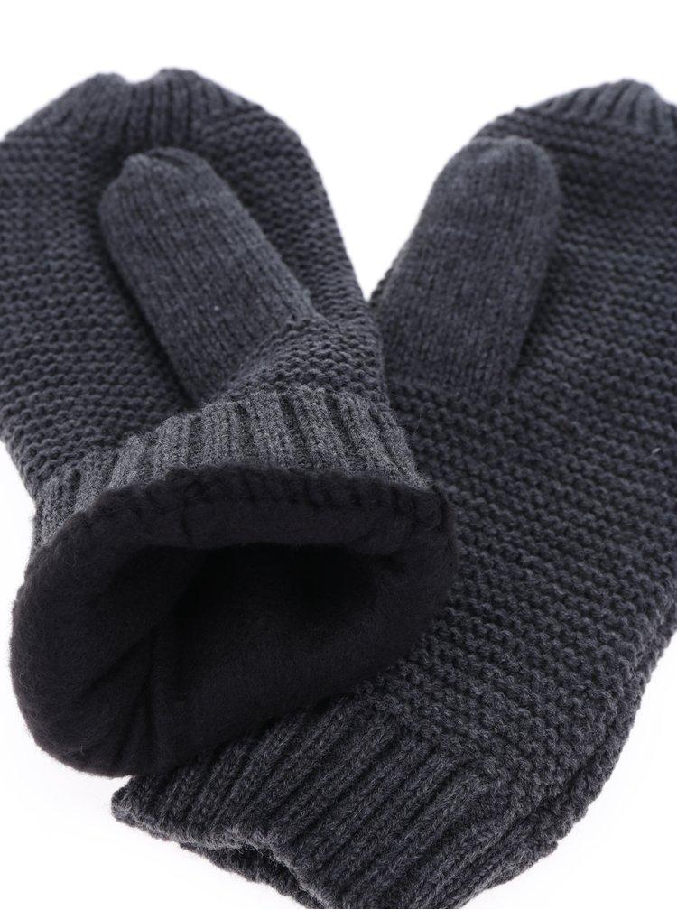 Tmavě šedé pletené palčáky Pieces Billi