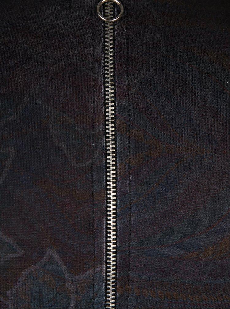 Tmavě šedé květované pouzdrové šaty se zipy Desigual Tormenta