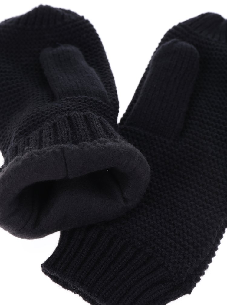 Černé pletené palčáky Pieces Billi