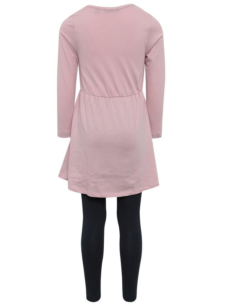 Světle růžový holčičí set šatů s legínami Blue Seven