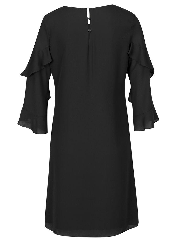 Černé volné šaty s volány na rukávech Dorothy Perkins Tall