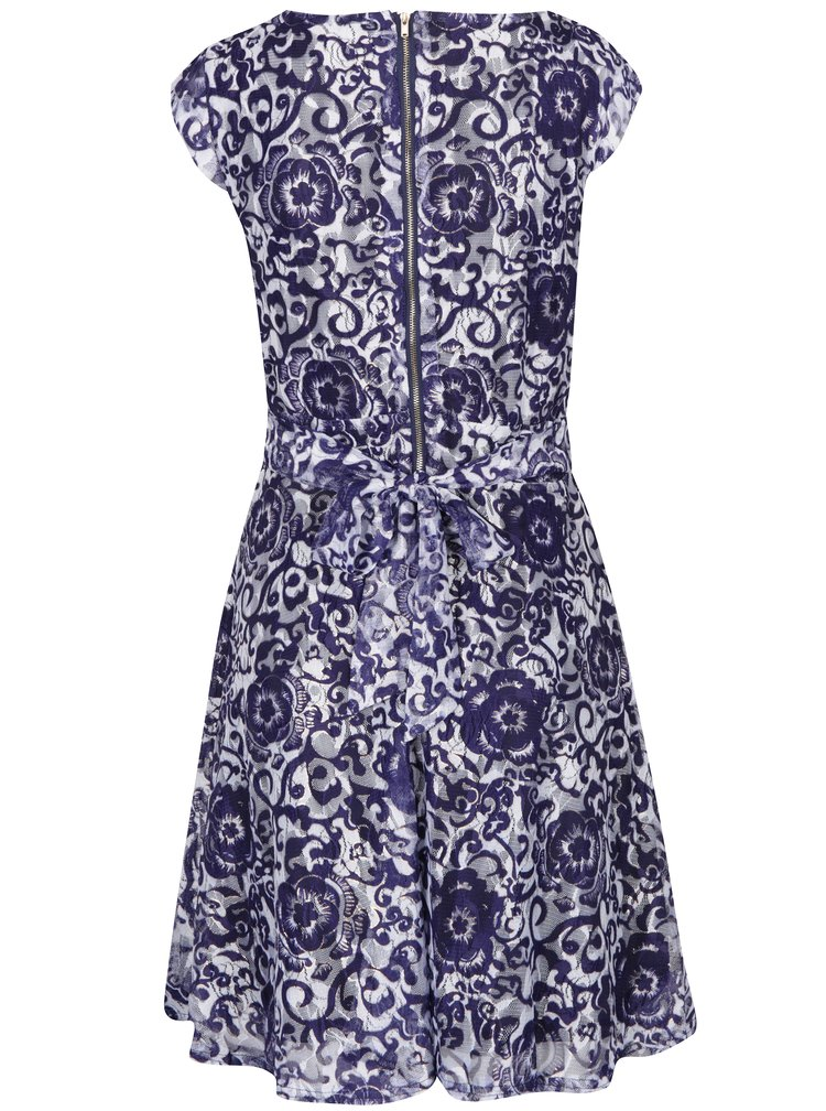 Bílo-modré květované šaty Mela London